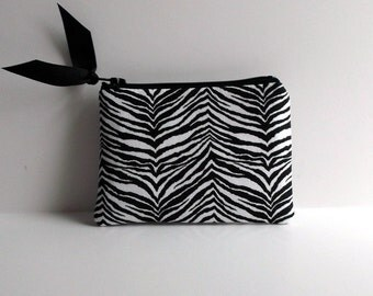 Coin Purse, Gift card pouch, Business card holder, Zebra pouch, Hot Pink small zip purse, animal print change purse, Head phone case