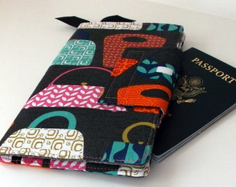 Travel wallet, Passport Organizer Wallet, Smart phone Wallet Handbag Pattern and Pink Chevron,  fabric wallet, Ready to ship