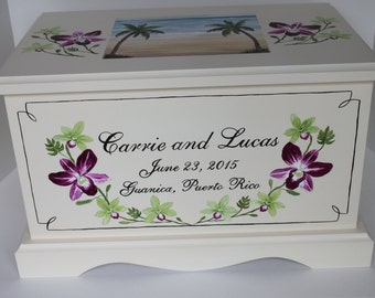 Orchids and beach theme Wedding Keepsake Chest Box personalized wedding gift hand painted card box