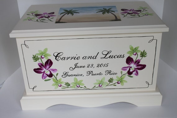 and beach theme Wedding Keepsake Chest Box personalized wedding gift ...