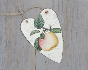 Decoupaged Heart Gift Tag, Ornament, Redoute Apple Art