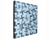 ORIGINAL Abstract Artwork Black And White Art Gray Painting Optical Squares Contemporary Wall Art Grayscale Decor 16x16 Acrylic Painting