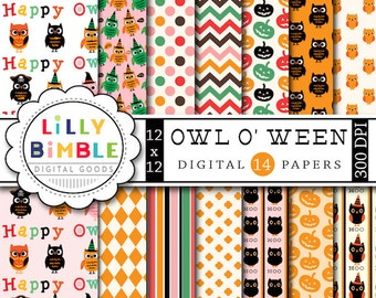 80% off OWL-O-WEEN Halloween Owl digital paper with pirates, witches, superhero dressed owls cute Instant Download costumes
