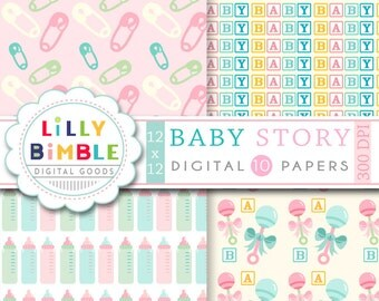 40% off Baby Digital scrapbook paper for cards, invites, INSTANT DOWNLOAD Baby Story digital papers
