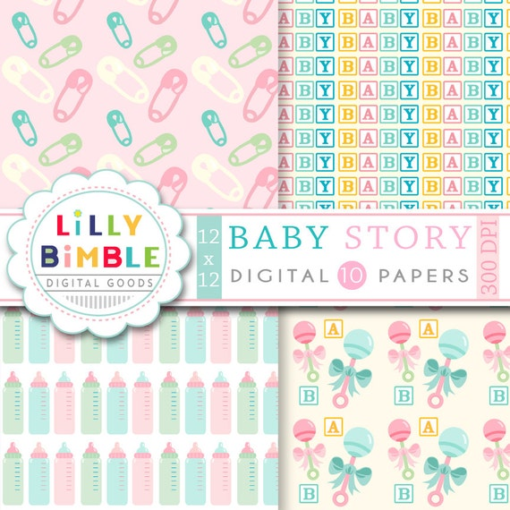 50% off Baby Digital scrapbook paper for cards, invites, INSTANT DOWNLOAD Baby Story digital papers