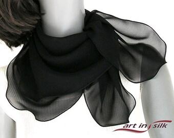 "Black Square Scarf, Chiffon Neck Scarf, Petite Shoulder Wrap, Sheer Silk Scarf, Solid Black, 26x26"" 27x 27"", Natural Silk Chiffon, Artinsilk"