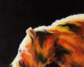 Sunlit Bear Original Oil Painting Wildlife Animal Portrait by California Artist debra alouise