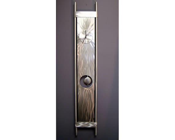 Silver Metal Modern Wall Clock - Functional Art - Home Decor - Pendulum Clock - Contemporary Accent - Clock Vortex 2 by Jon Allen