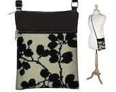 Sling Bag Shoulder Purse Cross Body Bag Small Travel Purse Zipper Fits eReaders Pods Black Floral  RTS