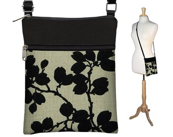 Sling Bag Shoulder Purse Cross Body Bag Small Travel Purse Zipper Fits eReaders Pods Black Floral  RTS