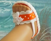 American Girl Doll Clothes Sandals Bright Orange Shoes With White Lace Accents