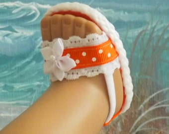 """Doll Sandals for 18"""" Doll and 13-14"""" doll and 14.5"""" doll (You Choose Size )Bright Orange Shoes With White Lace Accents"""