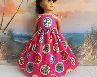 "Doll Dress 18"" Clothes Bright Pink Sundress Retro Florals and Birds Medley Sundress Long Length"