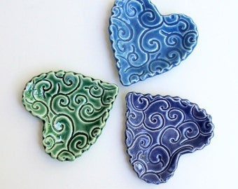 "Ceramic Lacy Heart Plates, 3 3/8"", Hand Built  Set of Three"