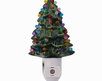 Little Green Ceramic Christmas Tree Night Light Color Globes on Light Sensitive Automatic Switch Stocking Stuffer Holiday Gift