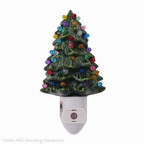 Little Green Ceramic Christmas Tree Night Light Color Globes