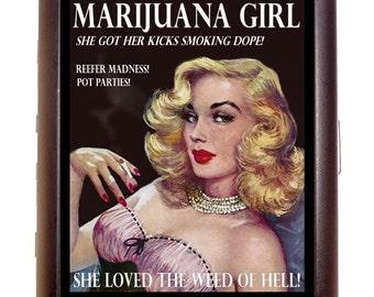 Marijuana Girl Blonde Cigarette Case Business Card Case Wallet Dope Reefer Weed Pot Exclusive Design