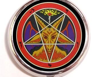 Baphomet Satanic Pentagram Pill box Pillbox Case Satanism Occult Goat's Head Satan Devil Sabbatic Holds Guitar Picks Vitamins