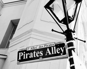 black and white new orleans art, pirates alley street sign, jackson square, french quarter art, new orleans photography