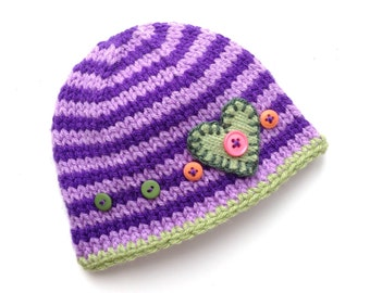 Newborn - 3 month Baby Girl Knitted Cap BaBY PHoTO PRoP RTS Pixie BeANiE Mauve Purple Stripe Green HeART BuTToN Toque CoMiNG HoMe BaBY GiFT
