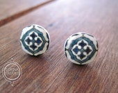 Stud earrings, blue post earrings, Decorative Spanish Tile Design, Spain, Spanish jewelry, Spanish post earrings, Blue