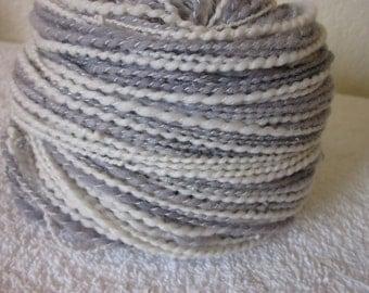 Handspun Cashmere Merino Suri Alpaca ART Yarn  (Pearls and Sterling) 174 yds 159 meters