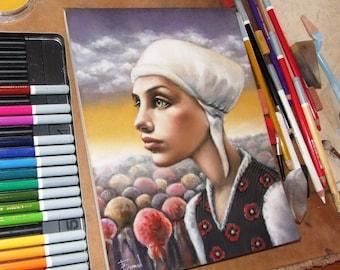 Strange Attraction - art by Tanya Bond - fantasy girl bonnet surreal landscape folk clothes pastel pastelmat panpastels