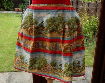 Vintage Apron - a Red Country Style Half Apron - Handmade