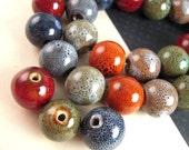 7 BIG ORGANIC Glazed Raku Ceramic Round Beads, 15mm, 16mm, Mottled Earth Colors, Porcelain Beads M056