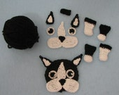 Crochet Kit to Make Boston Terrier Hat and Scarf for American Girl Dolls or Like Size Dolls