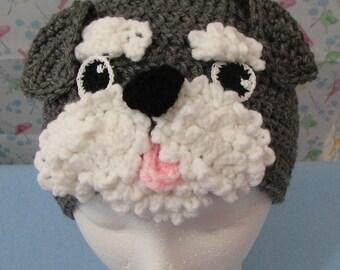 Crochet Pattern - Schnauzer Hat - Animal Hat - Dad Hat - Women's Hat - Dog Lovers Gift - Dog Theme Gifts - PDF - Digital Download