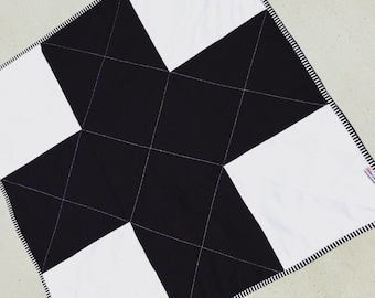 Black and white mini minky plus quilt and play mat