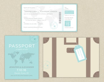 Wedding Invitations: Destination Passport Ticket Wedding