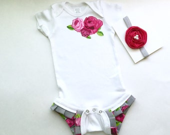 SHABBY CHIC...Rose Ruffle legged one piece bodysuit... in hot pink and grey