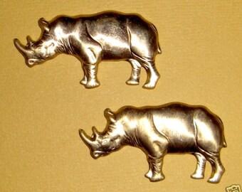 8 pcs. vintage raw brass rhinoceros animal figural stampings #f584