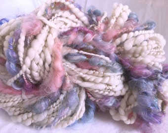 Art Yarn Handspun - BUTTERFLY- Bulky, Textured, knit, weaving supplies, craft supplies, chunky, doll hair 88yds