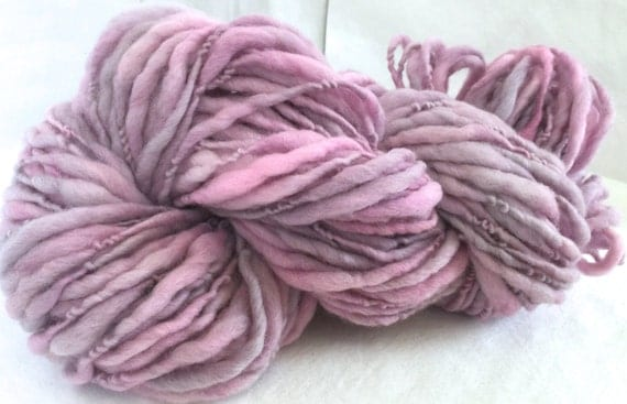 Thick and Thin Bulky Yarn Handspun- LAZY LAVENDER-bulky merino crochet ...