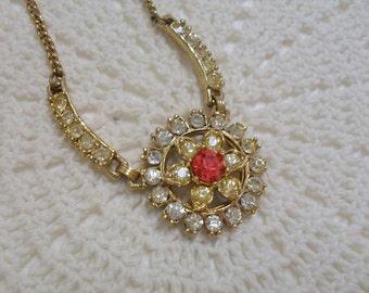 Vintage 1950s Necklace Multi Colored Rhinestone Chain Necklace