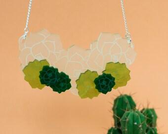 Succulent necklace - Echeveria necklace - cactus jewellery - echeveria jewellery - statement necklace - plant necklace - succulent gift
