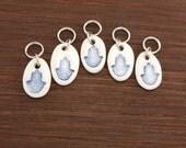 Hamsa Stitchmarkers, Oval Porcelain set of 5 Cobalt
