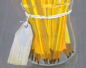 A Bouquet of Freshly Sharpened Pencils ... 8x10 art print ... for teachers, professors, students, school supply fans with custom name option