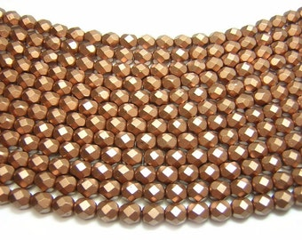 Czech Fire Polished Beads 6mm Matte Metallic Bronze Copper Fire polished Round Beads 25pcs (A55) Czech Glass Beads
