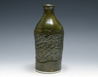 Olive Green Vase with Hand Carved Design