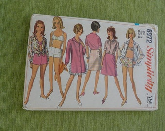 Vintage 60s Simplicity 6972 Misses Two Piece Bathing Suit Wrap Skirt and Cover Up  Pattern size 14 B34