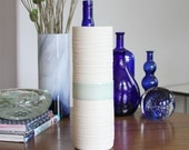 Celadon Vase - SHOP SALE - Tall Ceramic Groove Cylinder Vase in Celadon