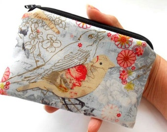 Bird Zipper Pouch Little Coin Purse ECO Friendly Padded NEW Postcard Birds