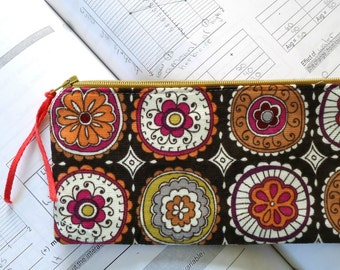 Corduroy Zipper Pouch, Pencil Case, Cosmetic Bag in Mod Brown Circles