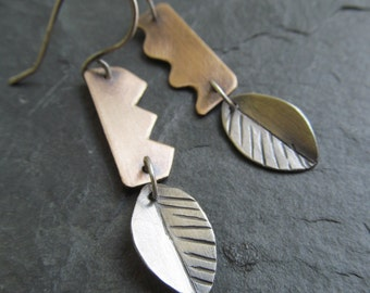 Silver Dangle Earrings Leaf Design Funky Mixed Metal Leaves Dangling Earrings