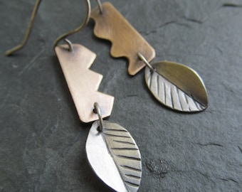SALE! Silver Dangle Earrings Simple Leaf Design Funky Mixed Metal Dangling Earrings