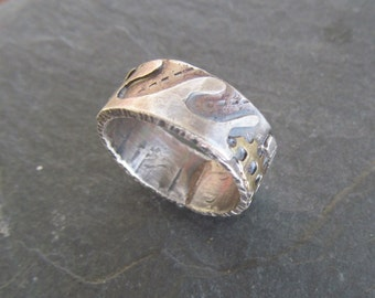 Silver Mixed Metal Ring Womens Funky Boho Hippie RING Stamped SMALL Wedding Band Ring
